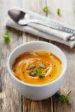 Φρέσκια σούπα καρότων στο άσπρο κύπελλο, διαιτητική φυτική σούπα Στοκ Φωτογραφία