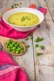 Φρέσκια σούπα πράσινων μπιζελιών με τους σπόρους μπιζελιών Στοκ Εικόνες