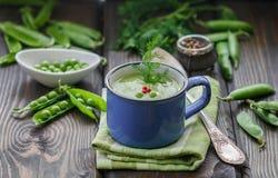 Φρέσκια σούπα πράσινων μπιζελιών με τους σπόρους μπιζελιών και τους λοβούς μπιζελιών Στοκ εικόνες με δικαίωμα ελεύθερης χρήσης