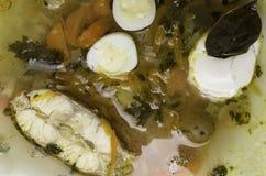 Φρέσκια σούπα ψαριών με τα λαχανικά, τα χορτάρια και τα αυγά στο άσπρο πιάτο Σούπα με τα συστατικά και τα καρυκεύματα για το μαγε Στοκ φωτογραφία με δικαίωμα ελεύθερης χρήσης