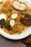 Φρέσκια σούπα ψαριών με τα λαχανικά, τα χορτάρια και τα αυγά στο άσπρο πιάτο Σούπα με τα συστατικά, τα καρυκεύματα, το ρύζι και τ Στοκ Εικόνες