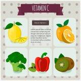 φρέσκια υγιής βιταμίνη ύφους πορτοκαλιών γ Διανυσματική απεικόνιση, eps 10 Φρούτα και λαχανικά με το σύνολο infographics βιταμίνη Στοκ Εικόνες