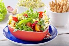 Φρέσκια υγιής σαλάτα σε ένα κύπελλο με το grissini και τους νεαρούς βλαστούς Στοκ εικόνα με δικαίωμα ελεύθερης χρήσης