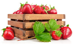 Φρέσκια φράουλα μούρων στο ξύλινο κιβώτιο με Στοκ Φωτογραφία
