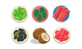 Φρέσκοι και ξηροί καρποί και μούρα στα πιάτα, διανυσματική απεικόνιση τοπ άποψης σε ένα άσπρο υπόβαθρο απεικόνιση αποθεμάτων