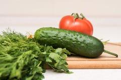Φρέσκοι ντομάτα, αγγούρι, μαϊντανός και άνηθος στον τέμνοντα πίνακα Στοκ Εικόνες