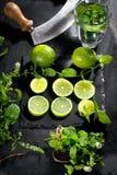Φρέσκοι πράσινοι ασβέστης και μέντα στο μαύρο υπόβαθρο, τοπ άποψη, τετραγωνική εικόνα στοκ εικόνες