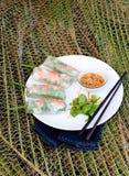 Φρέσκοι ρόλοι άνοιξη με το χοιρινό κρέας, τη γαρίδα και τα χορτάρια Στοκ φωτογραφία με δικαίωμα ελεύθερης χρήσης