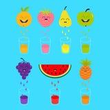 Φρέσκοι χυμός και γυαλιά Apple, φράουλα, αχλάδι, πορτοκάλι, σταφύλι, καρπούζι, pineaple φρούτα με τα πρόσωπα Χαμογελώντας χαριτωμ Στοκ Εικόνα