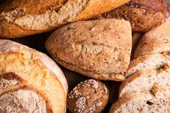 Φρέσκοι ψωμί και σίτος στον ξύλινο στοκ εικόνες