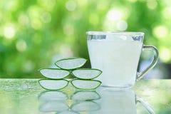 Φρέσκοι aloe φύλλα της Βέρα και aloe χυμός της Βέρα Στοκ Φωτογραφίες