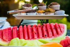 Φρέσκος που τεμαχίζεται watermellon σε ένα πικ-νίκ φεστιβάλ άνοιξη Στοκ Εικόνα