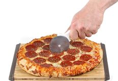 φρέσκος τεμαχισμός πιτσών στοκ φωτογραφία
