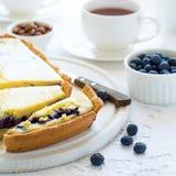 φρέσκος χρόνος τσαγιού φραουλών πορσελάνης πιάτων της Κίνας Σπιτικό cheesecake βακκινίων, φλυτζάνια του τσαγιού, καρύδια και μούρ Στοκ εικόνα με δικαίωμα ελεύθερης χρήσης