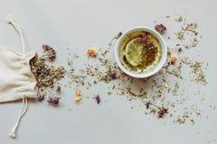 φρέσκος χρόνος τσαγιού φραουλών πορσελάνης πιάτων της Κίνας Ξηρά βοτανικά τσάι και φλυτζάνι του καυτού τσαγιού στο γκρίζο υπόβαθρ Στοκ φωτογραφία με δικαίωμα ελεύθερης χρήσης