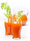 Φρέσκος χυμός καρότων και κολοκύθας Στοκ Εικόνες
