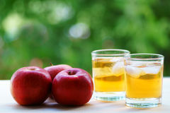Φρέσκος χυμός μήλων με τον πάγο κόκκινο μήλων Στοκ Φωτογραφία