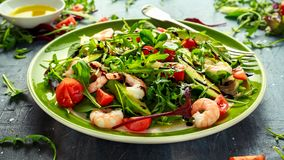 Φρέσκο αβοκάντο, σαλάτα γαρίδων με το πράσινο μίγμα μαρουλιού, ντομάτες κερασιών, χορτάρια και ελαιόλαδο, σάλτσα λεμονιών τρόφιμα Στοκ εικόνα με δικαίωμα ελεύθερης χρήσης
