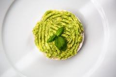 Φρέσκο αβοκάντο guacamole στο ρύζι που αναπαράγεται στοκ εικόνα με δικαίωμα ελεύθερης χρήσης