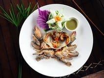 Φρέσκο ακατέργαστο καβούρι θάλασσας που εξυπηρετείται με την πικάντικη ταϊλανδική σάλτσα θαλασσινών ύφους Στοκ Φωτογραφίες