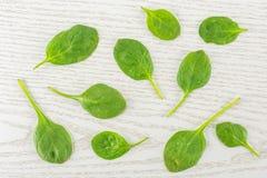 Φρέσκο ακατέργαστο πράσινο σπανάκι μωρών στο γκρίζο ξύλο Στοκ Φωτογραφία