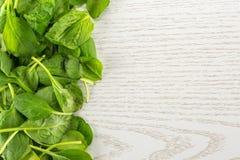 Φρέσκο ακατέργαστο πράσινο σπανάκι μωρών στο γκρίζο ξύλο Στοκ Εικόνα