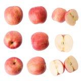 φρέσκο απομονωμένο κόκκινο λευκό ανασκόπησης μήλων Στοκ Εικόνες