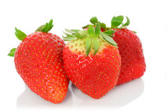 φρέσκο απομονωμένο λευκό φραουλών ανασκόπησης Στοκ φωτογραφία με δικαίωμα ελεύθερης χρήσης