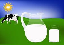 φρέσκο γάλα αγελάδων Στοκ Εικόνες