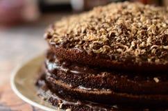 Φρέσκο κέικ σοκολάτας στο άσπρο πιάτο από την πλευρά Στοκ φωτογραφία με δικαίωμα ελεύθερης χρήσης