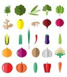 Φρέσκο και νόστιμο σύνολο εικονιδίων λαχανικών Στοκ Εικόνες