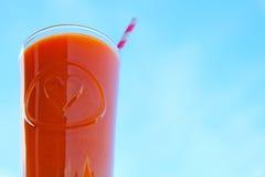 Φρέσκο καρότο και χυμός από πορτοκάλι ενάντια στο μπλε ουρανό Στοκ εικόνες με δικαίωμα ελεύθερης χρήσης