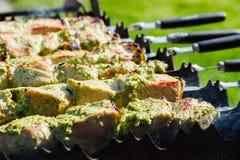 Φρέσκο κρέας στη σάλτσα με το κρεμμύδι στη σχάρα κατά τη διάρκεια Στοκ Εικόνα