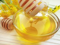 Φρέσκο μέλι, κίτρινο λουλούδι χρυσάνθεμων στο ξύλινο υπόβαθρο, θερινή λιχουδιά στοκ φωτογραφία