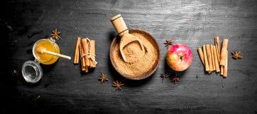 Φρέσκο μέλι με την επίγεια κανέλα και τη Apple Στοκ Εικόνες