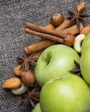 Φρέσκο μήλο με την κανέλα Στοκ Εικόνες