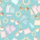 Θερινό σχέδιο με τον ήλιο, τα γυαλιά ηλίου και τις τσάντες διανυσματική απεικόνιση