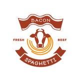 Φρέσκο λογότυπο μακαρονιών μπέϊκον βόειου κρέατος με την απεικόνιση αγελάδων Στοκ Εικόνες