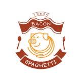 Φρέσκο λογότυπο μακαρονιών μπέϊκον με την απεικόνιση χοίρων και νουντλς Στοκ Εικόνα