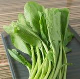 Φρέσκο οργανικό κινεζικό λάχανο στον γκρίζο δίσκο Στοκ Εικόνες