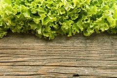 Φρέσκο πράσινο μαρούλι salat στο ξύλινο υπόβαθρο τρόφιμα υγιή Στοκ Φωτογραφία