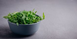 Φρέσκο πράσινο arugula στο κύπελλο στο γκρίζο υπόβαθρο πετρών Το Arugula είναι πλούσιο στις βιταμίνες και ιχνοστοιχεία Εκλεκτική  Στοκ Εικόνα