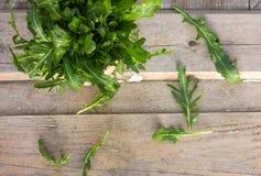 Φρέσκο πράσινο arugula στο κύπελλο στον ξύλινο πίνακα Το Arugula είναι πλούσιο μέσα Στοκ εικόνες με δικαίωμα ελεύθερης χρήσης