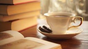 Φρέσκο πρόγευμα με το καυτό βιβλίο καφέ και ανάγνωσης στο φως του ήλιου πρωινού απόθεμα βίντεο