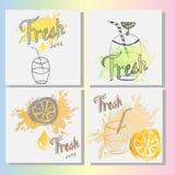 Φρέσκο πρότυπο λογότυπων χυμού, απεικόνιση Στοκ Εικόνες
