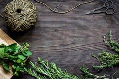 Φρέσκο πλαίσιο χορταριών στη σκοτεινή ξύλινη τοπ άποψη υποβάθρου Στοκ εικόνες με δικαίωμα ελεύθερης χρήσης