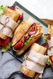 Φρέσκο σάντουιτς bahn-mi baguette που ορίζεται Στοκ Εικόνες