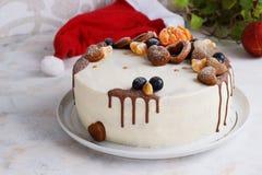 Φρέσκο σπιτικό κέικ με τα μανταρίνια για το νέο κόμμα έτους Στοκ φωτογραφία με δικαίωμα ελεύθερης χρήσης