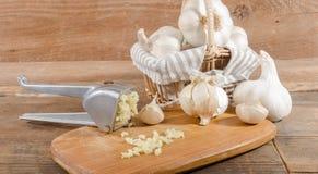 Φρέσκο συντριμμένο σκόρδο Στοκ Φωτογραφίες
