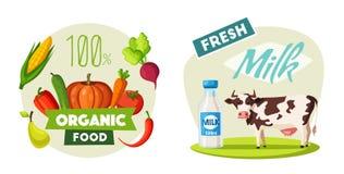 Φρέσκο φυσικό γάλα Αγροτικό λογότυπο Eco με την αγελάδα η αλλοδαπή γάτα κινούμενων σχεδίων δραπετεύει το διάνυσμα στεγών απεικόνι Στοκ Εικόνα